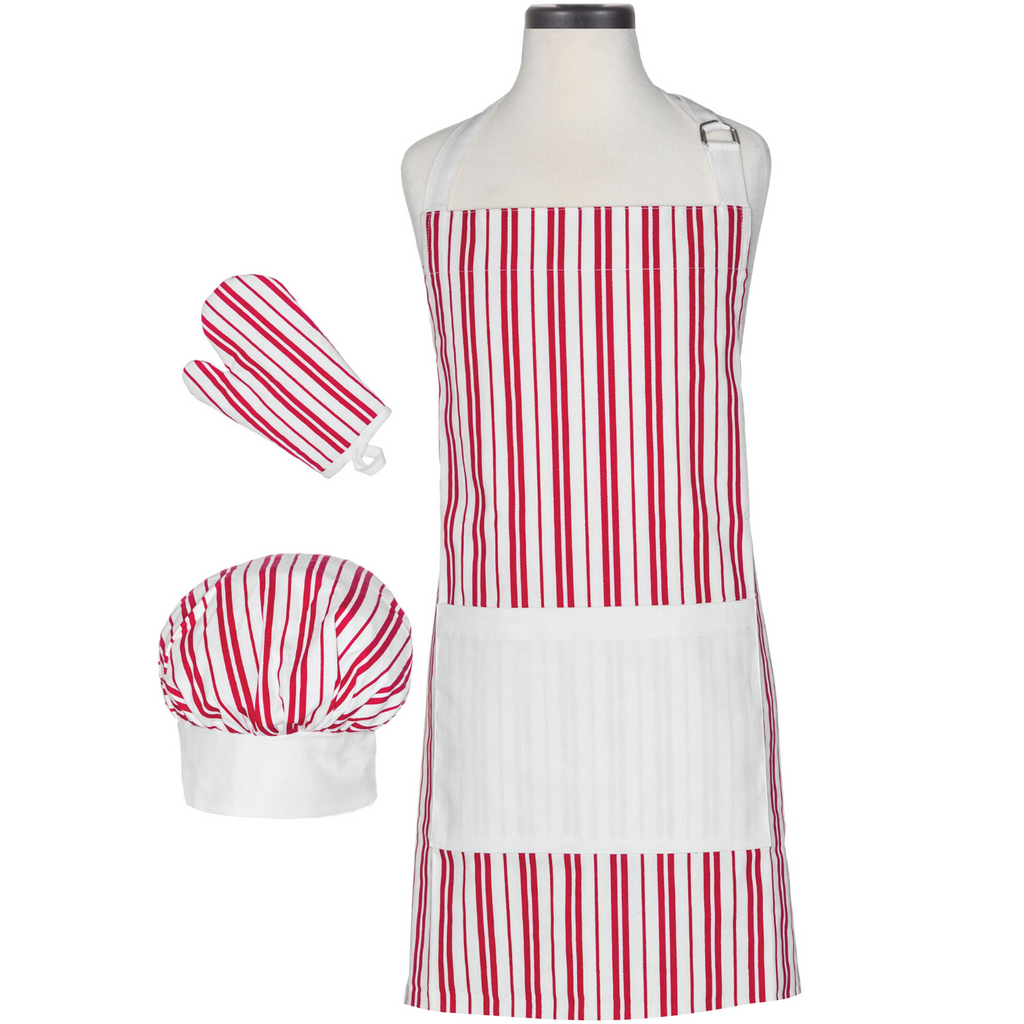 Red and White Striped Child Apron, Oven Mitt, Chef's Hat