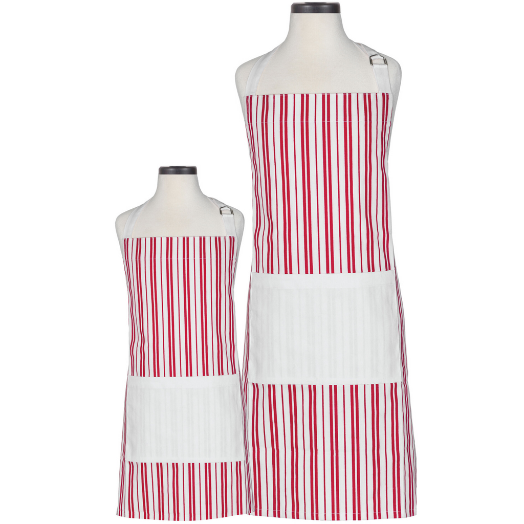 Red and White Striped Parent and Child Apron
