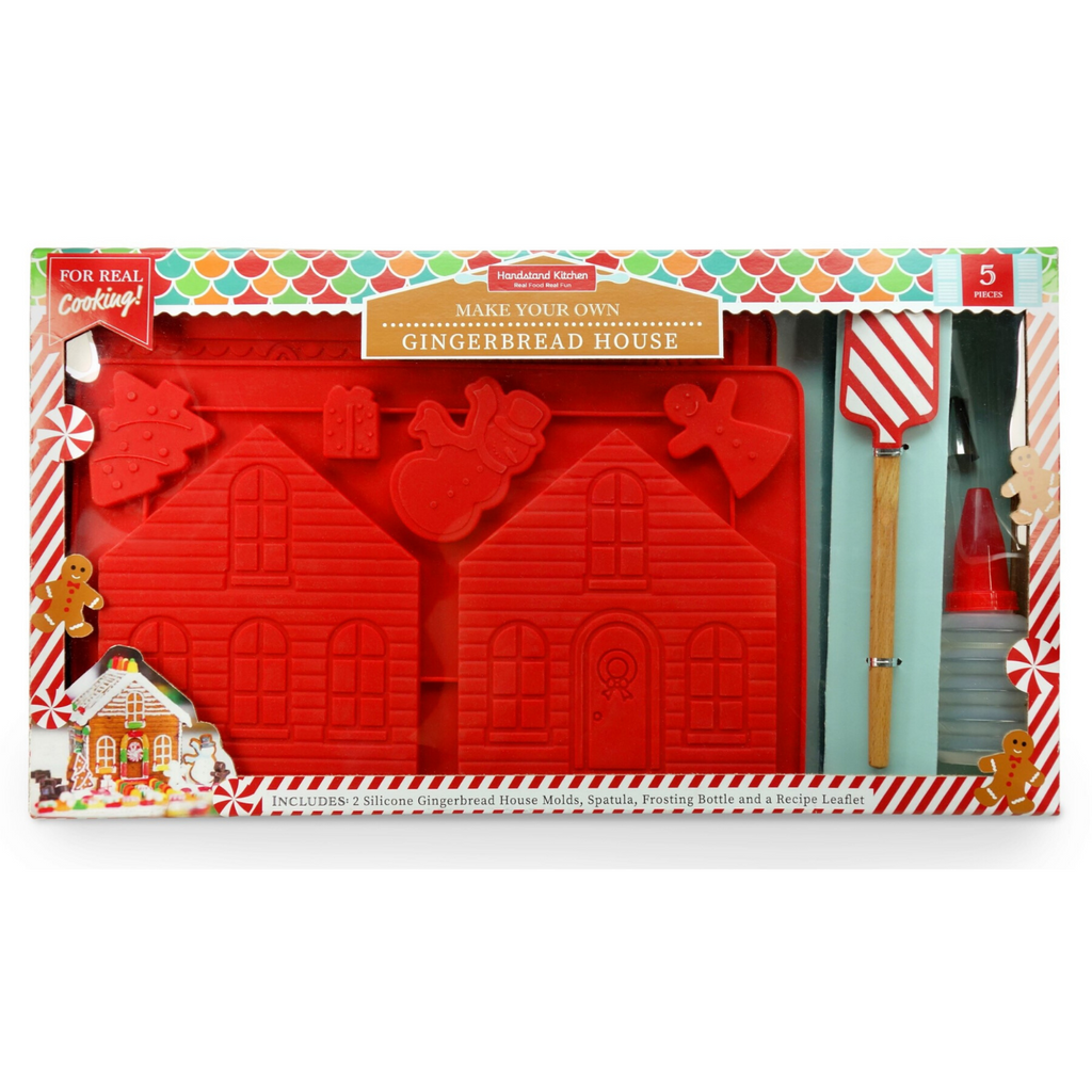 Kids Make your Own Gingerbread House Making Kit with Spatula and Frosting