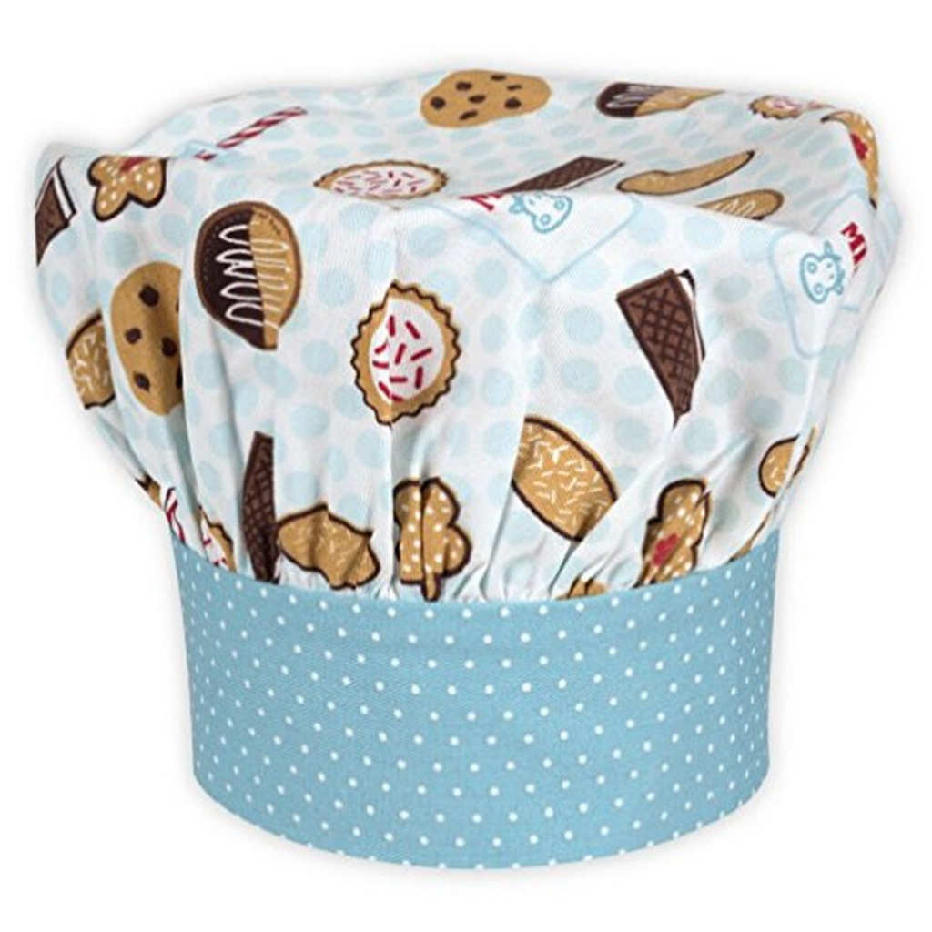 Milk and Cookie Print Kids Chef Hat for Baking and Cooking