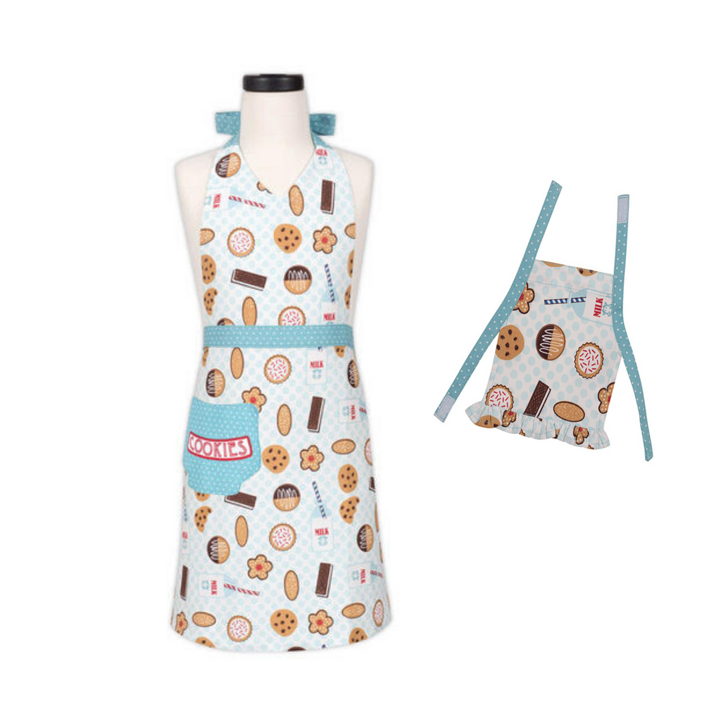 Milk and Cookie Print Kid and Doll Matching Apron Set
