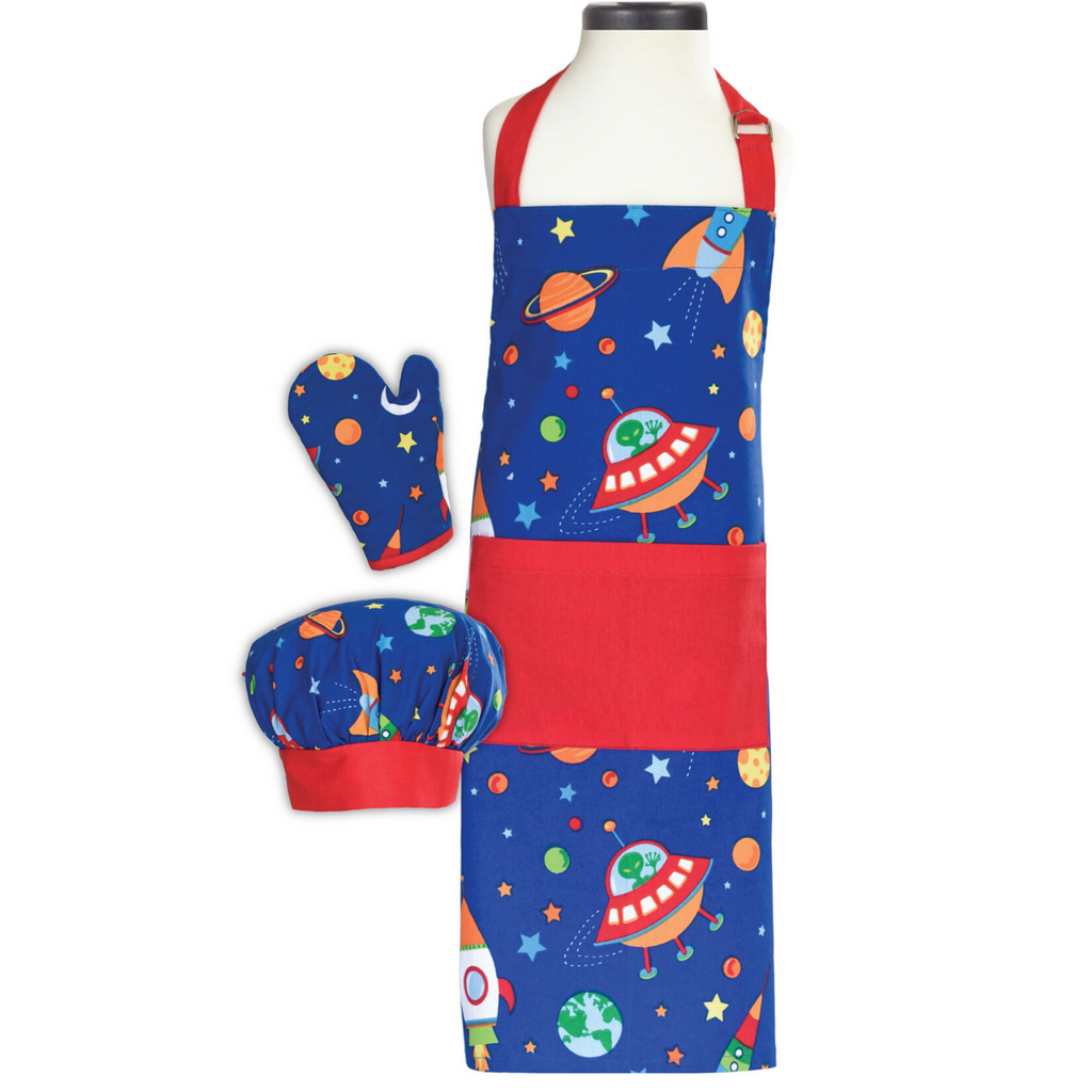Out of this World Space Themed Apron Cooking Set Apron Oven Mitt and Chef's Hat for Kids