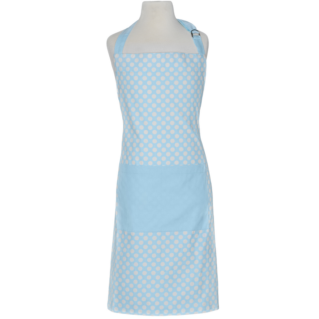 Light Blue Polka Dot Traditional Adult Apron