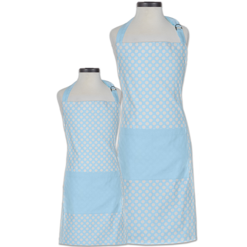 Light Blue Polka Dot Adult and Child Matching Aprons