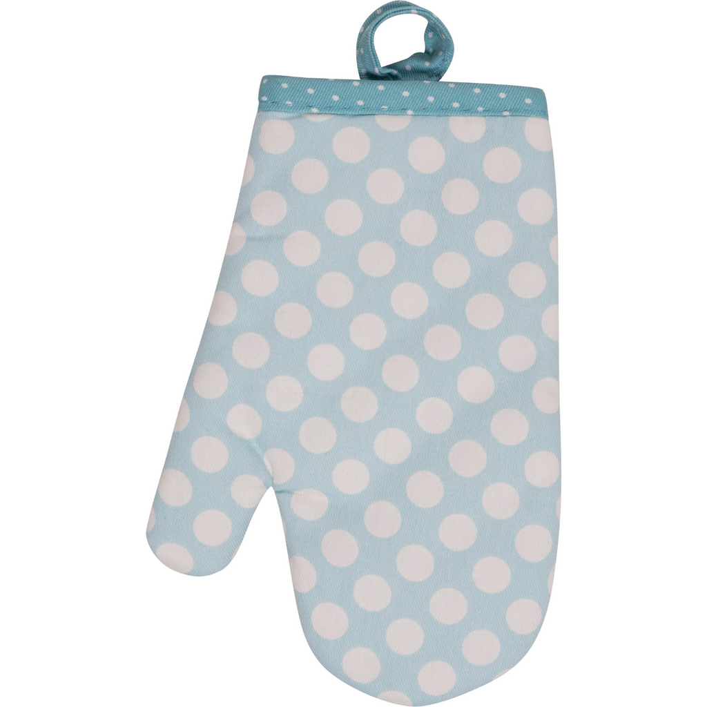Light Blue Polka Dot Kid Size Oven Mitt