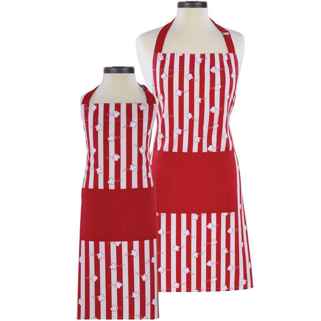 Popcorn Print Adult and Child Matching Cooking Aprons