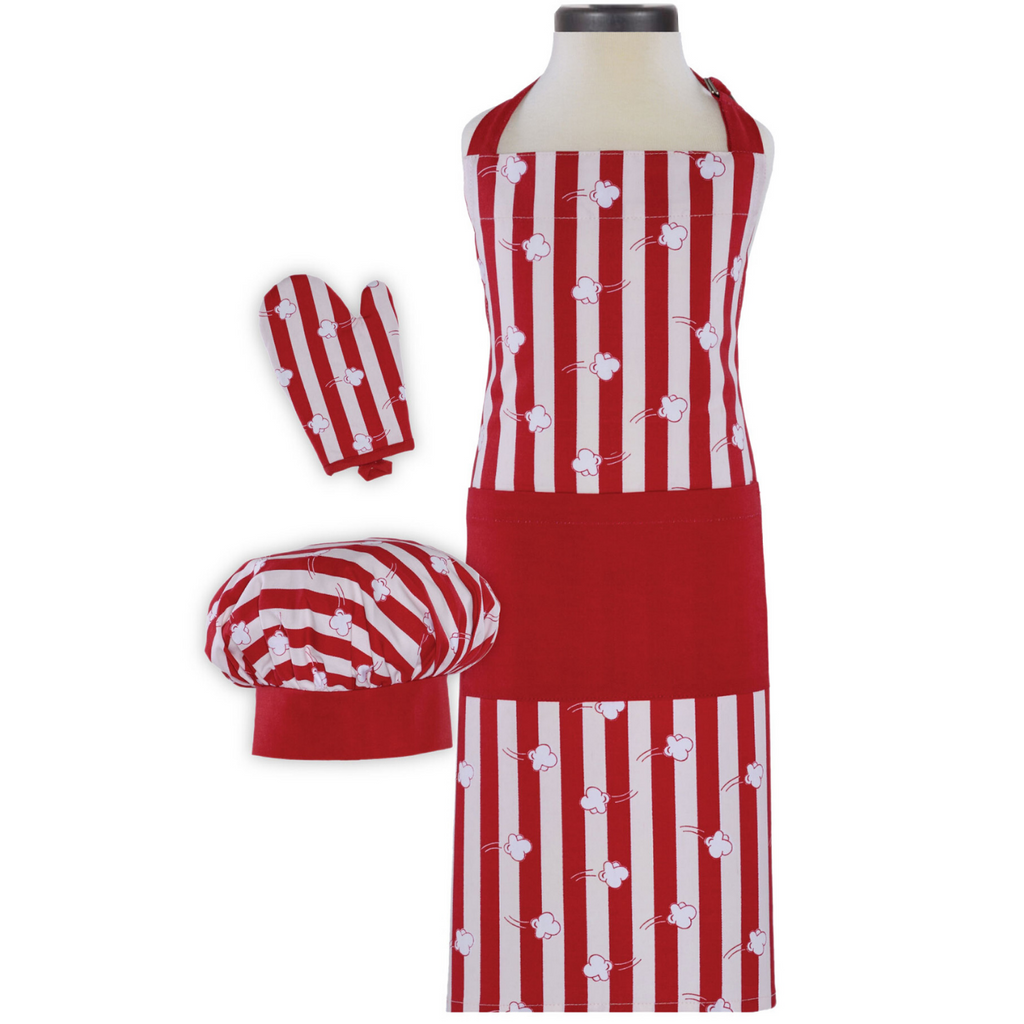 Popcorn Print Red White Stripe Child's Apron Chef Hat and Oven Mitt Cooking Set