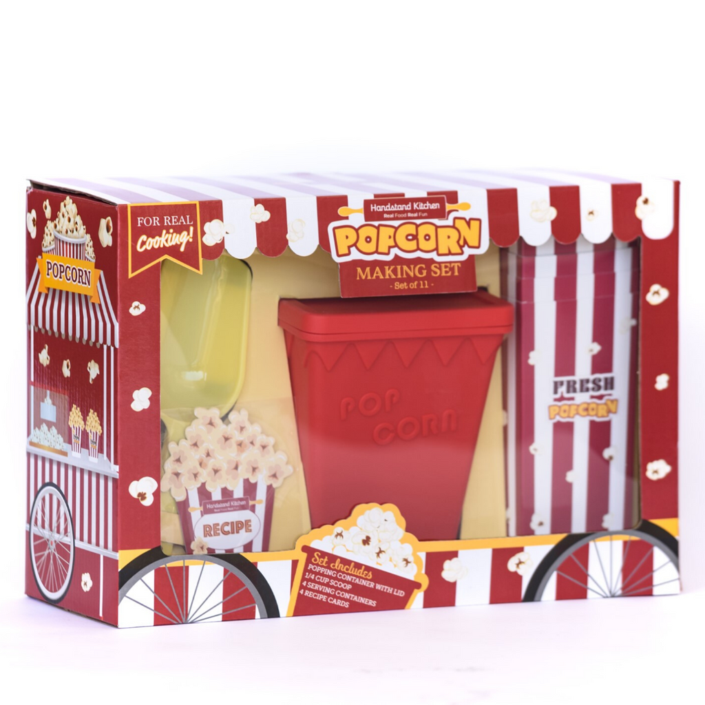 Kids Easy Popcorn Making Set with Silicone Container and Recipes