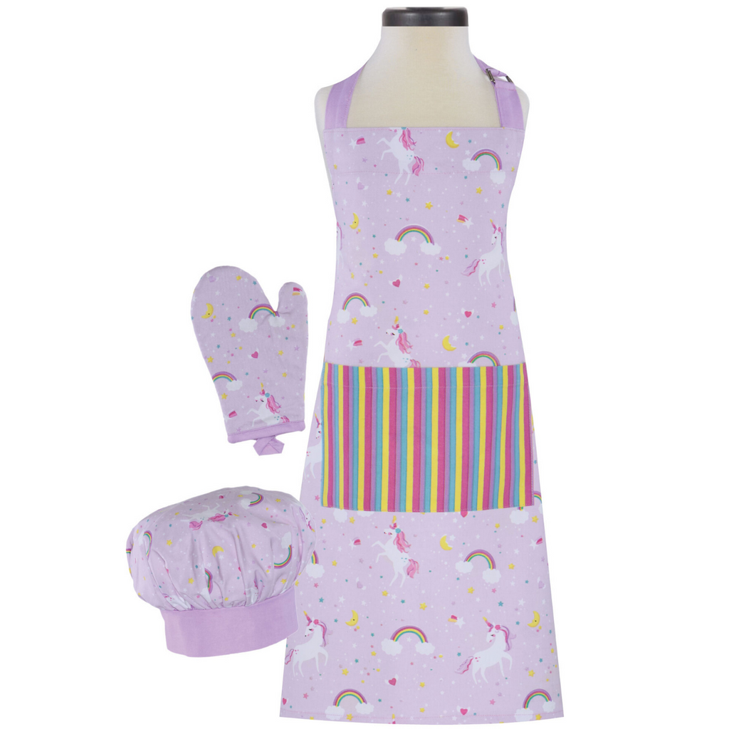 Rainbow and Unicorn Print Apron Chef Hat and Oven Mitt Kids Set