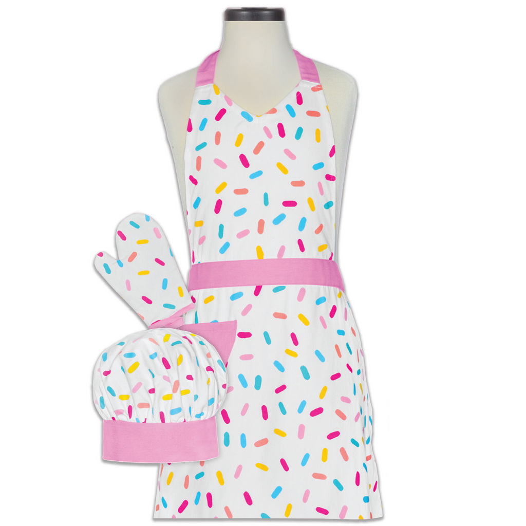Sprinkle Printed Childs Cooking Kit with Apron Chef Hat and Oven Mitt