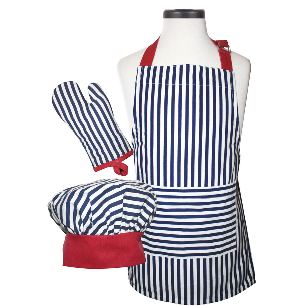 Navy Striped Childs Apron Oven Mitt and Chef's Hat Cooking Set