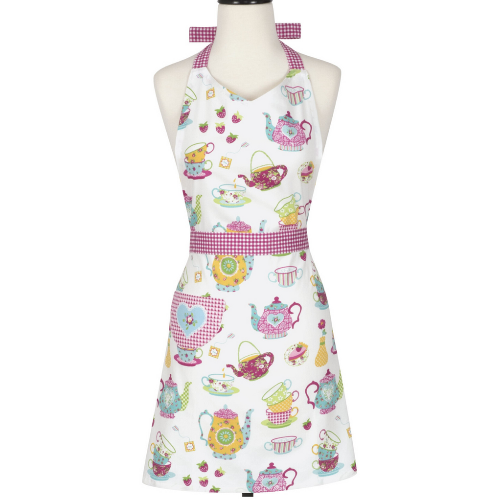 Tea Party Pink Printed Adult Cooking Apron