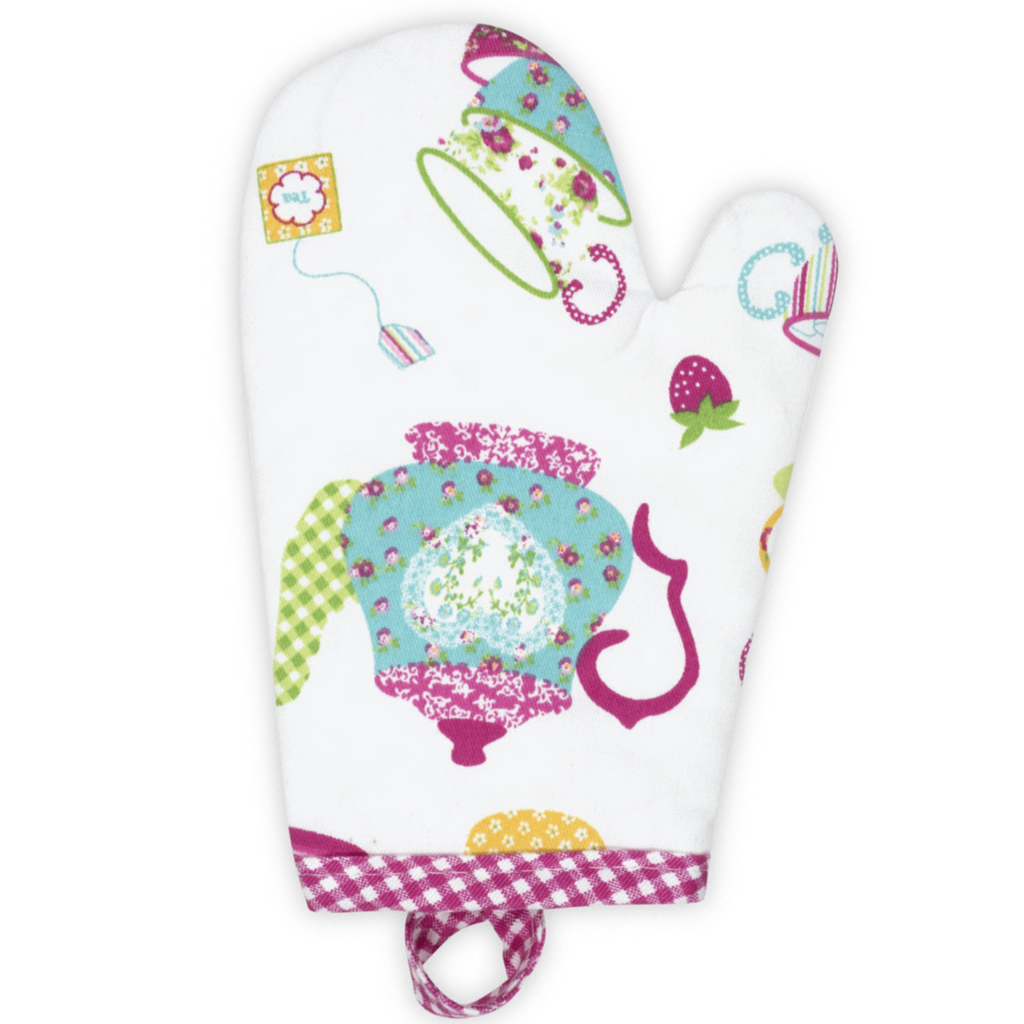 Tea Party Pink Printed Kids Oven Mitt