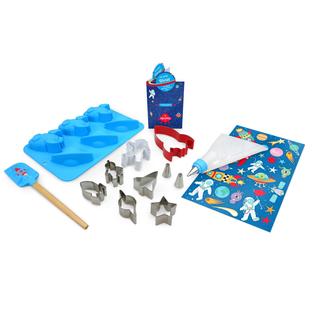 Kids Astronaut Space Baking Set Out of this World Silicone Cupcakes and Cookies with Frosting