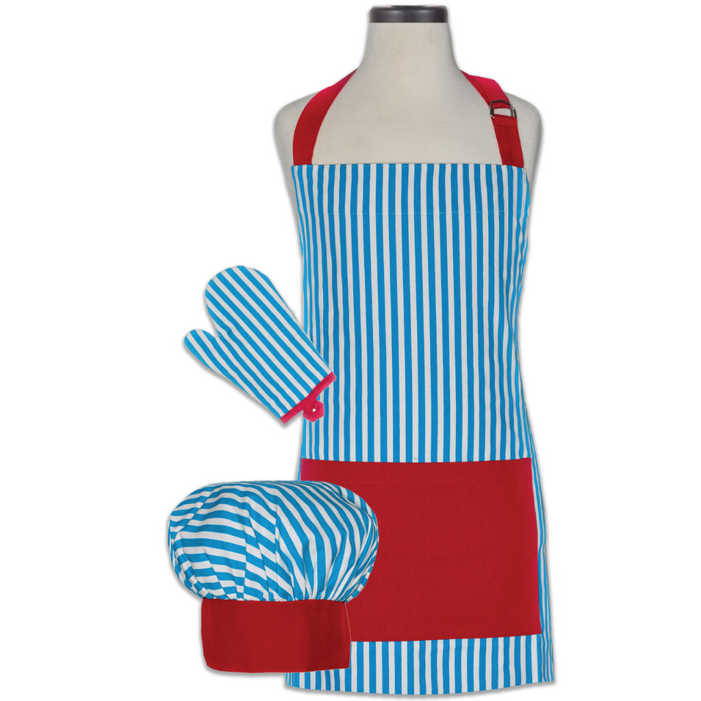 Whimsey Blue and Red Kids Apron Set with Oven Mitt and Chef's Hat