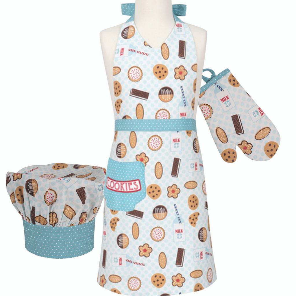 Milk and Cookie Print Kids Apron Chef Hat and Oven Mitt Cooking Set