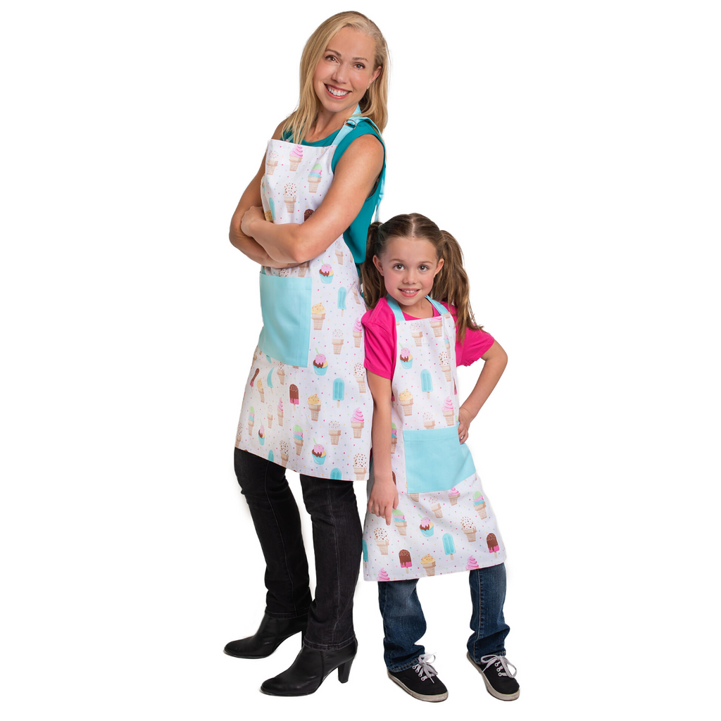 Adult and Child Matching Apron Set Teal Ice Cream Print