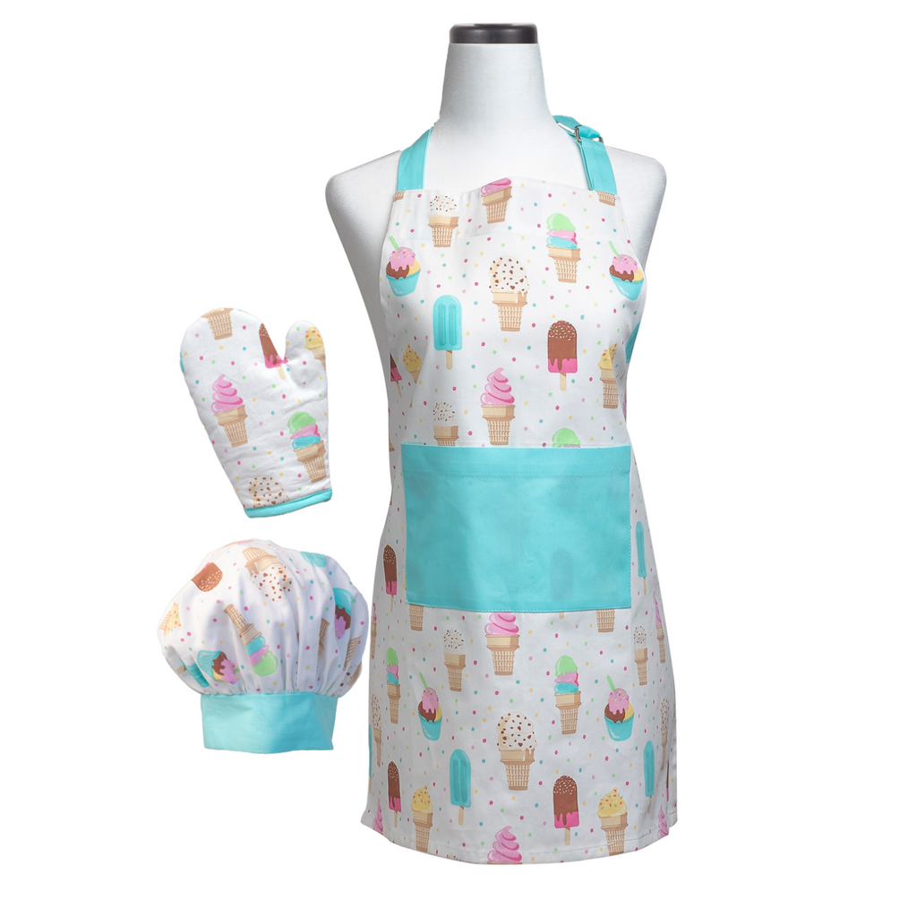 Ice Cream Print Child Apron Oven Mitt Chef Hat Cooking Set