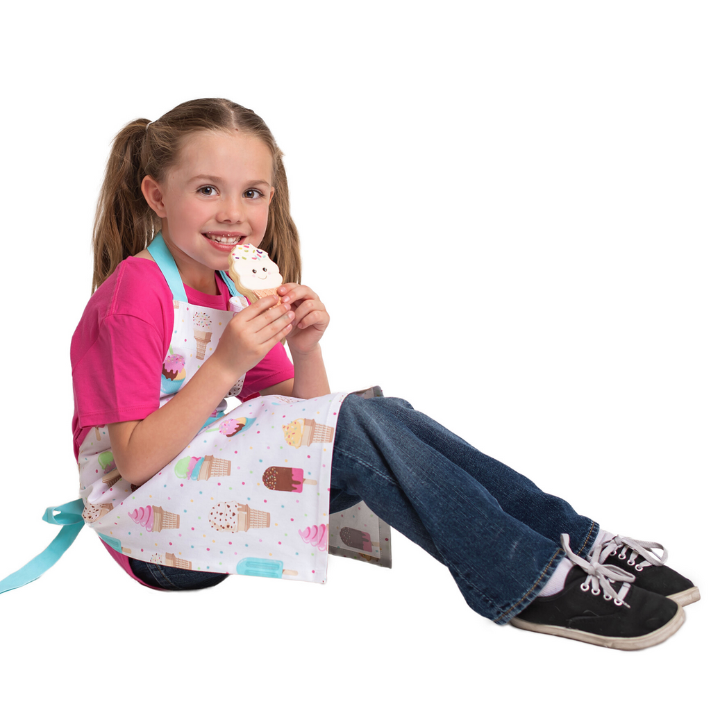 Kids Ice Cream Print Cotton Apron