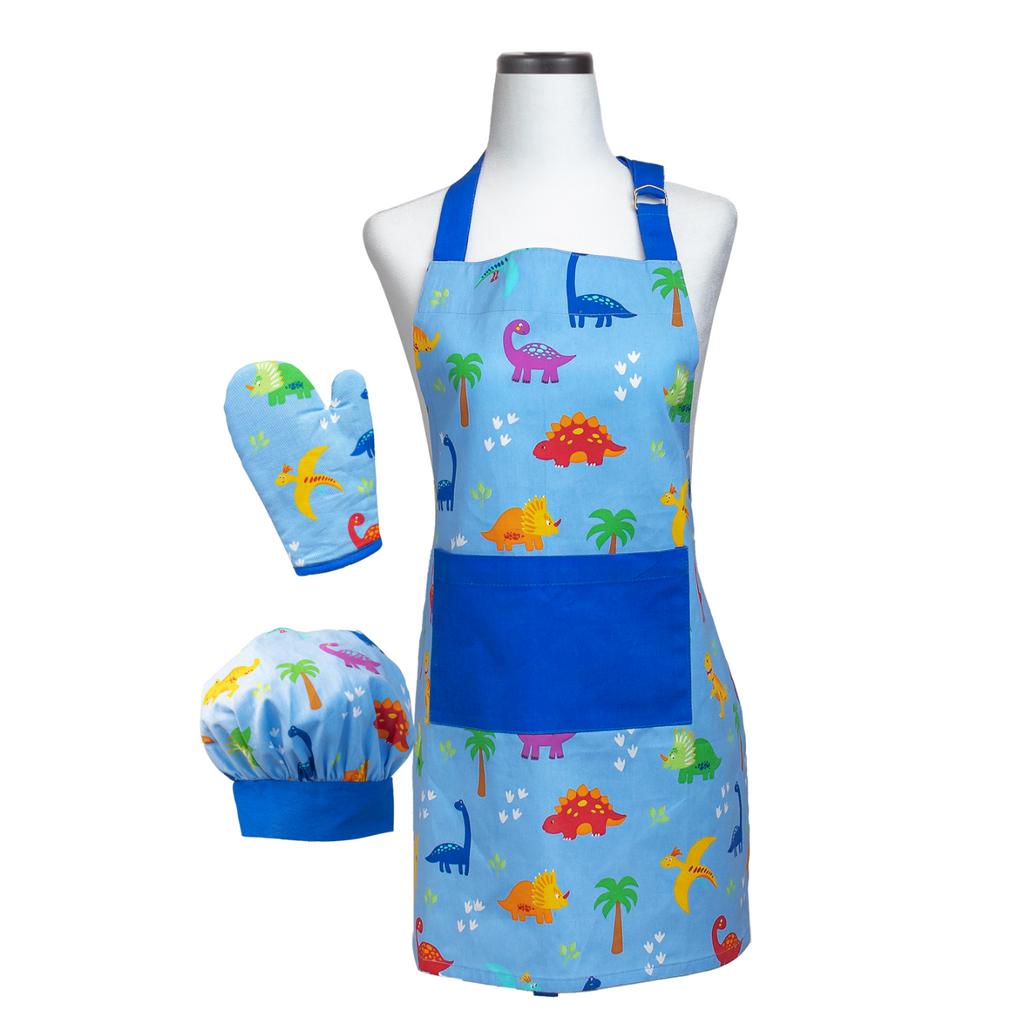 Dinosaur Kids Apron Oven Mitt and Chef's Hat Cooking Set