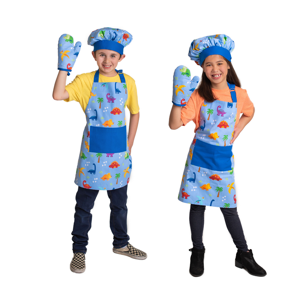 Kids Dinosaur Apron Set with Chef Hat and Oven Mitt
