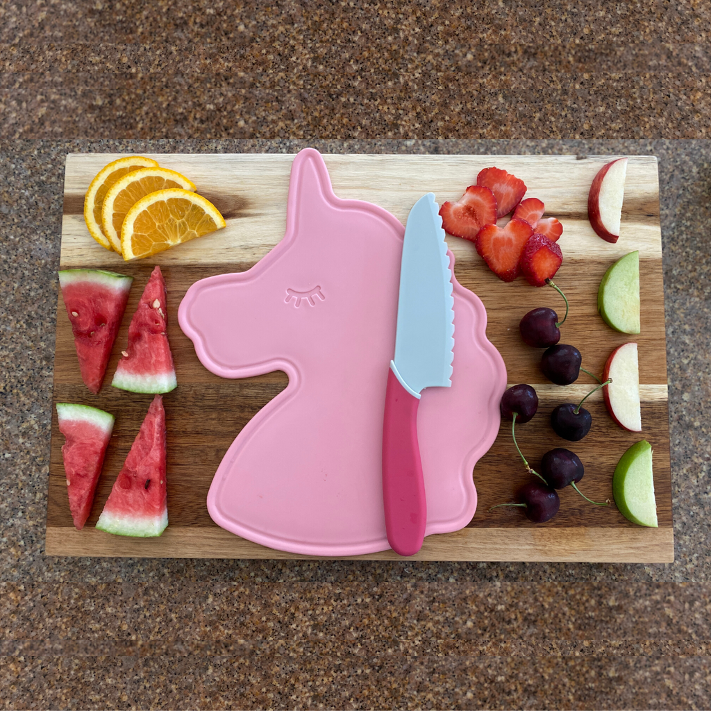 Kid Safe Cutting Board and Serrated Knife Set Pink Unicorn