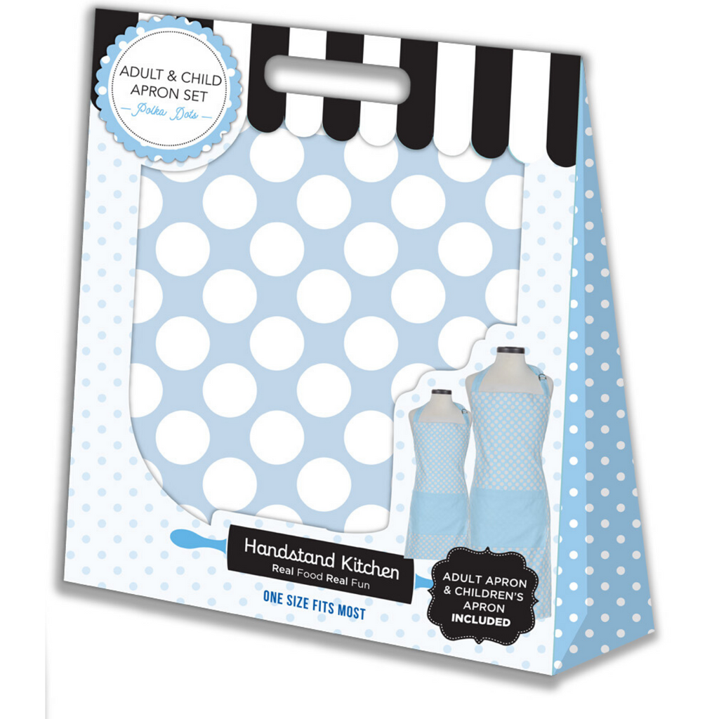 Light Blue Polka Dot Adult and Kid Matching Apron Set