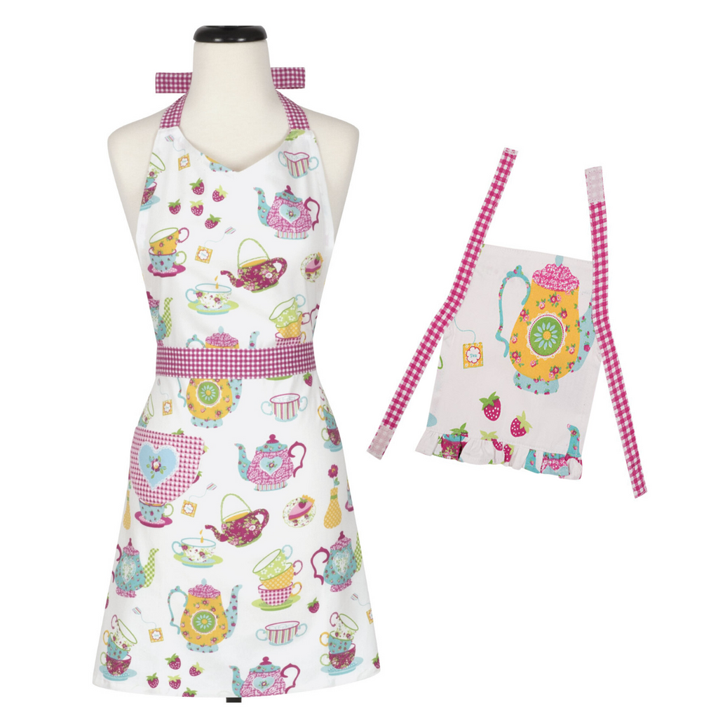 Kids Apron and Doll Apron Matching Set Tea Party Pink