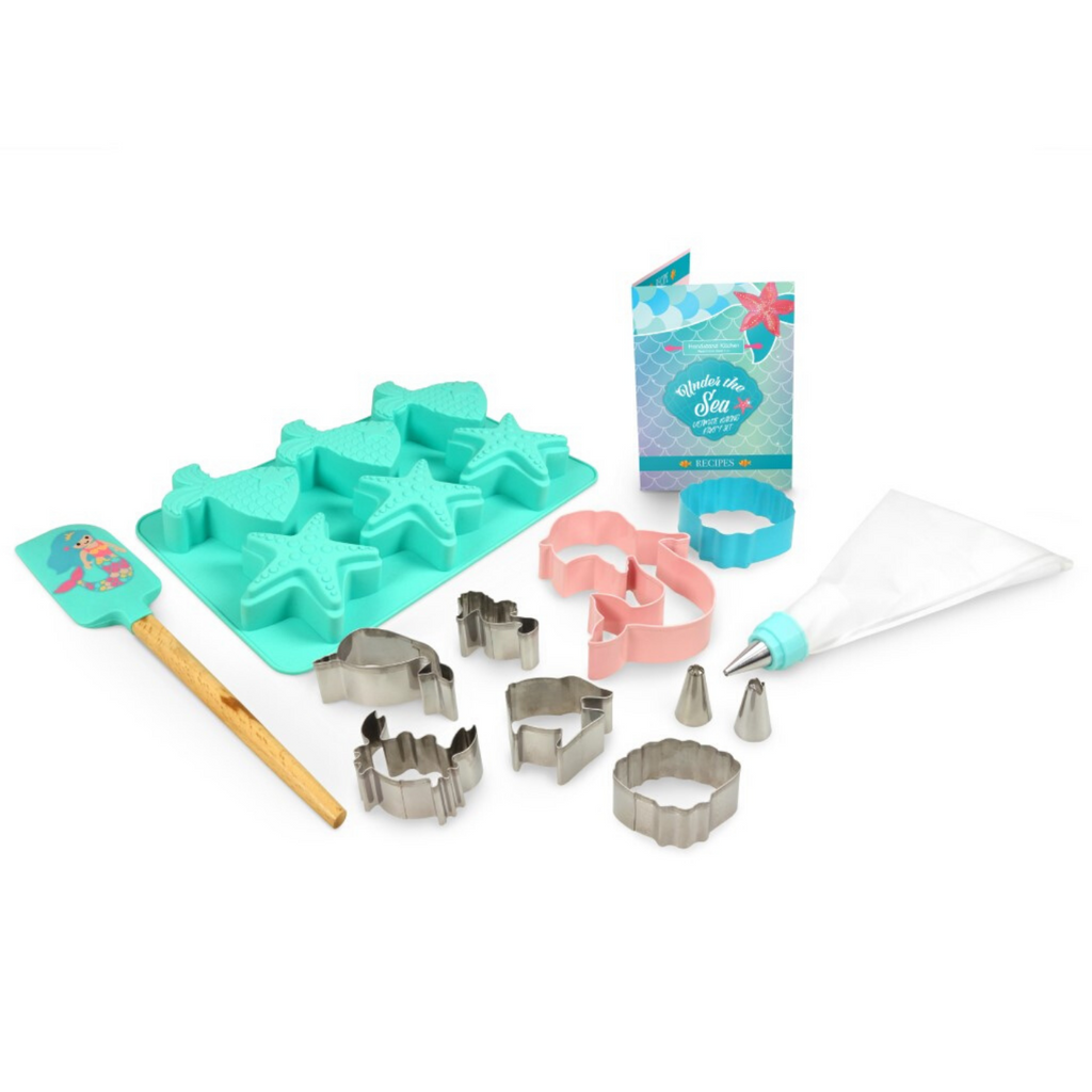 Under the Sea Mermaid Shell Kids Cupcake Mold and Cookie Cutter Kids Baking Set