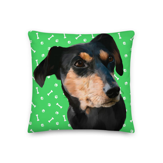Dog Paws And Bones Pillow (Large Face)