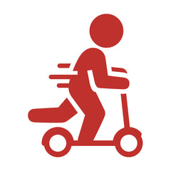 person moving on scooter icon in red