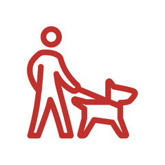 person walking dog red icon