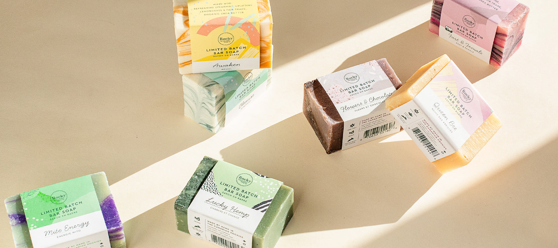 All natural bar soaps from Rocky mountain soap company.