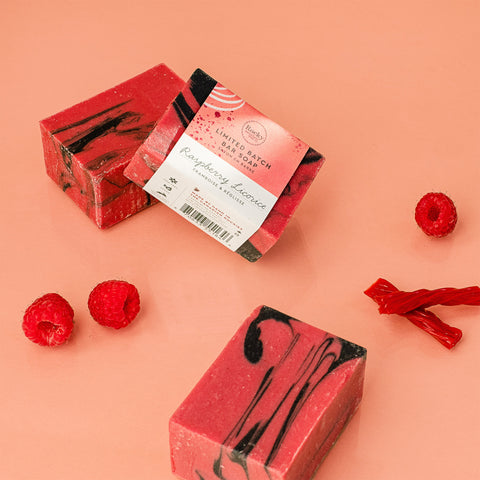 Image of limited edition raspberry licorice soap by Rocky Mountain Soap Company.