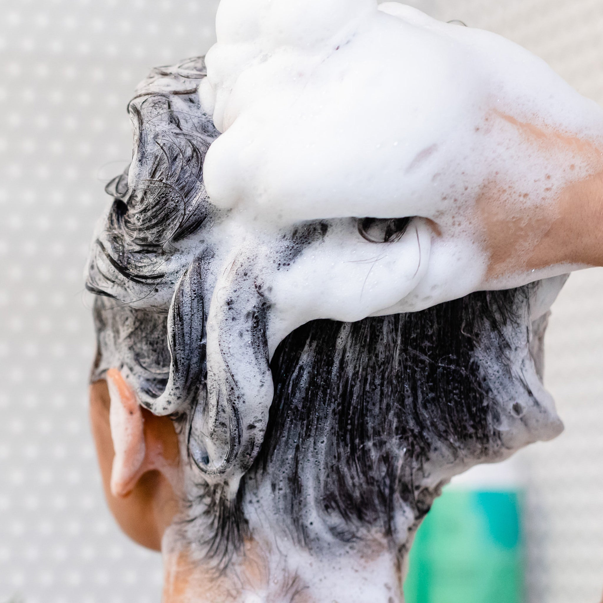 Image of hair lathering with natural shampoo.