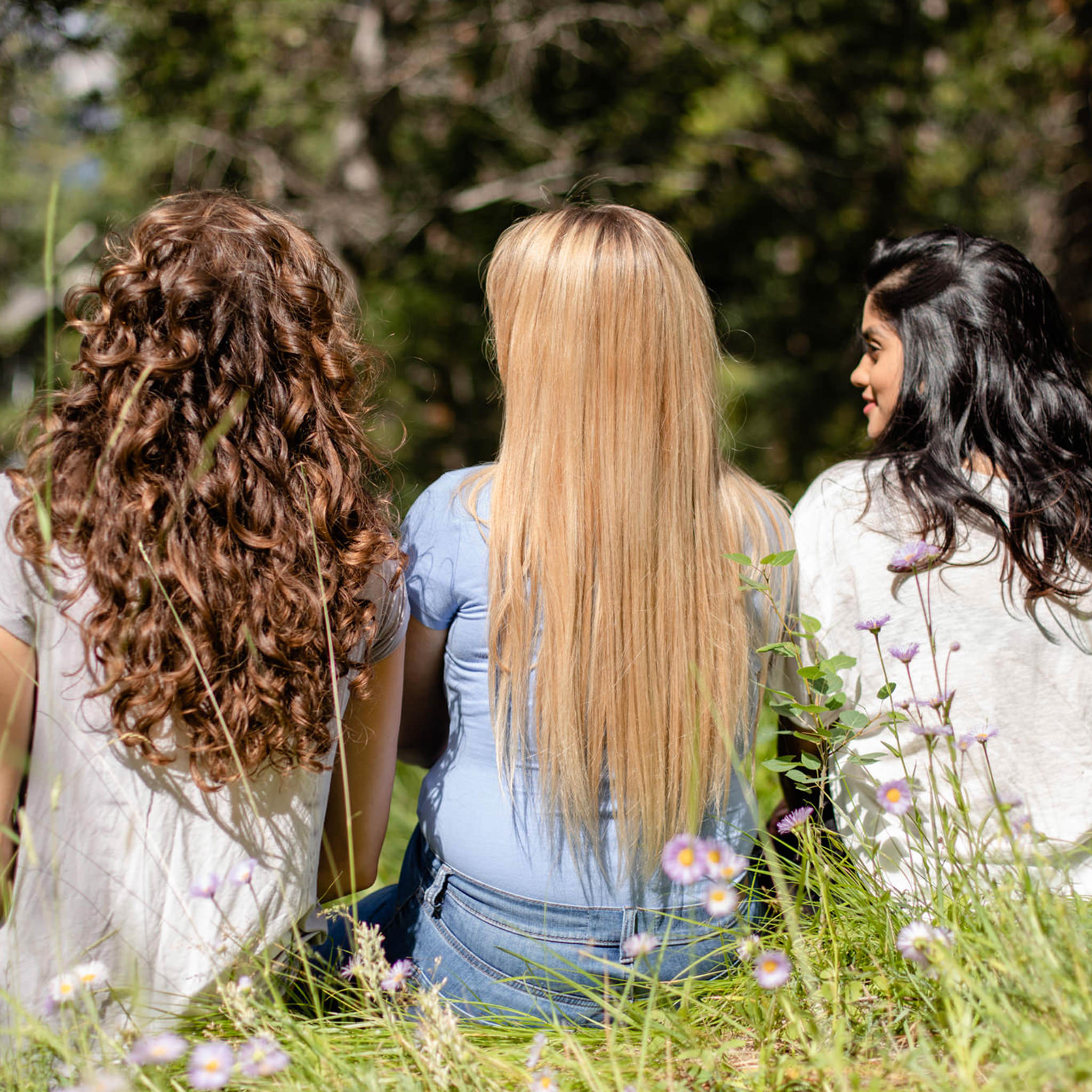 three women sitting with their backs to the camera, with shiny hair.