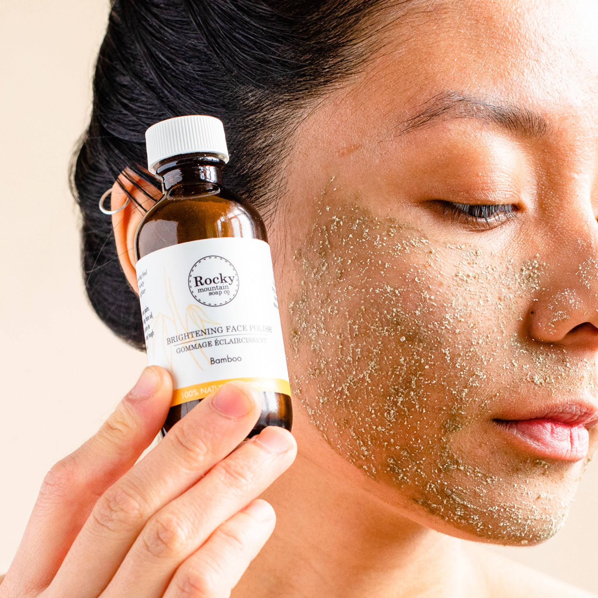 Face with all natural exfoliating face polish.
