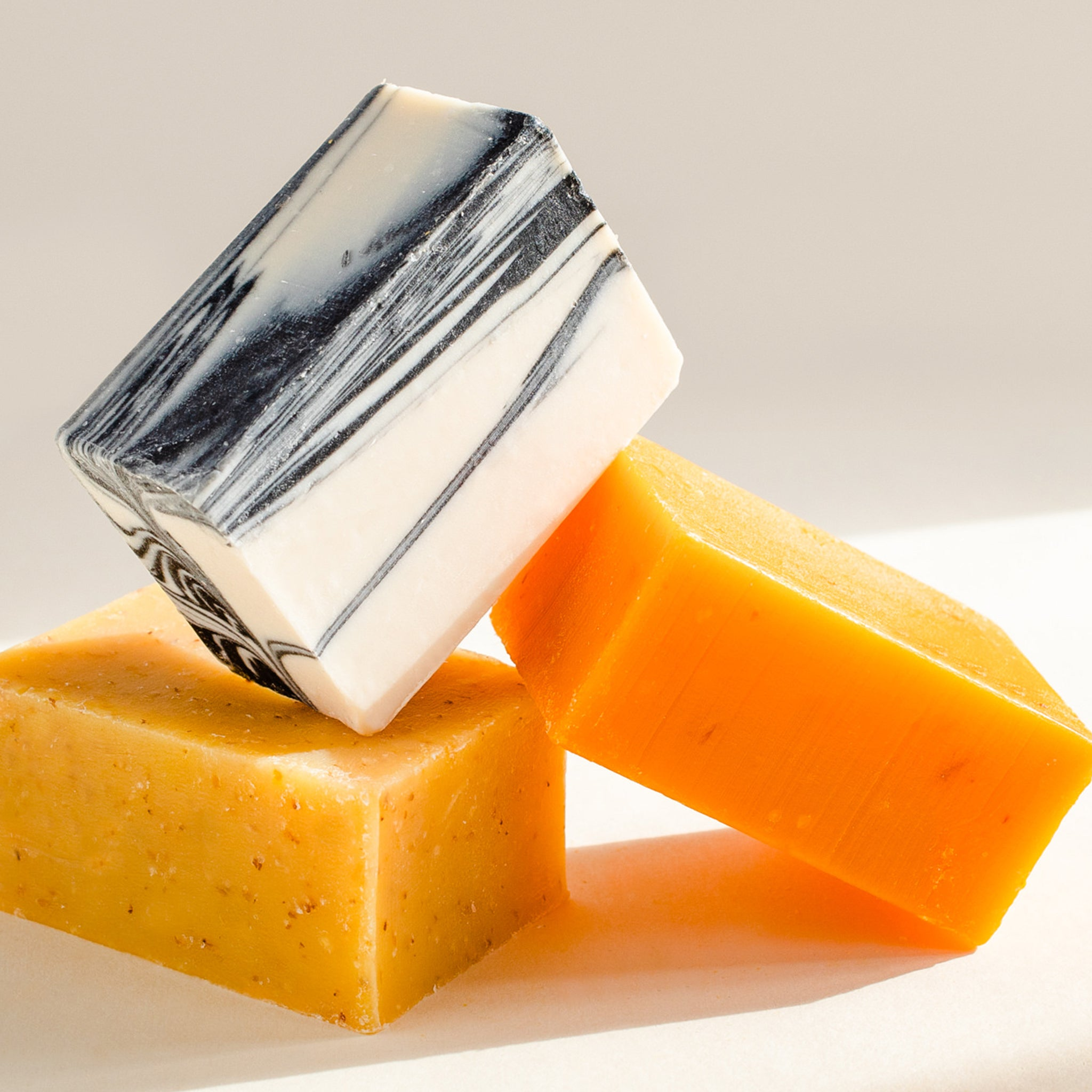 Three natural bar soaps made in Canada.