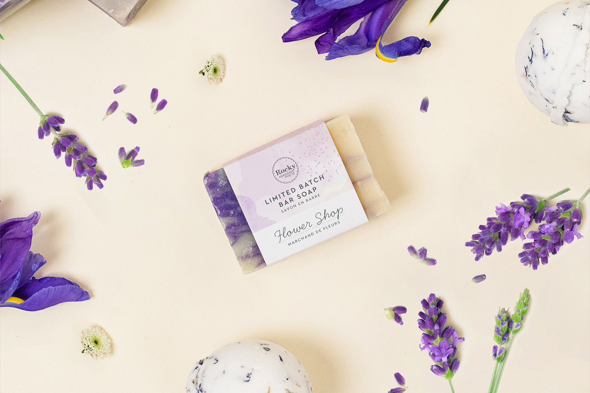 Image of natural soap bar Flower Show madein in Canada by Rocky Mountain soap Company,