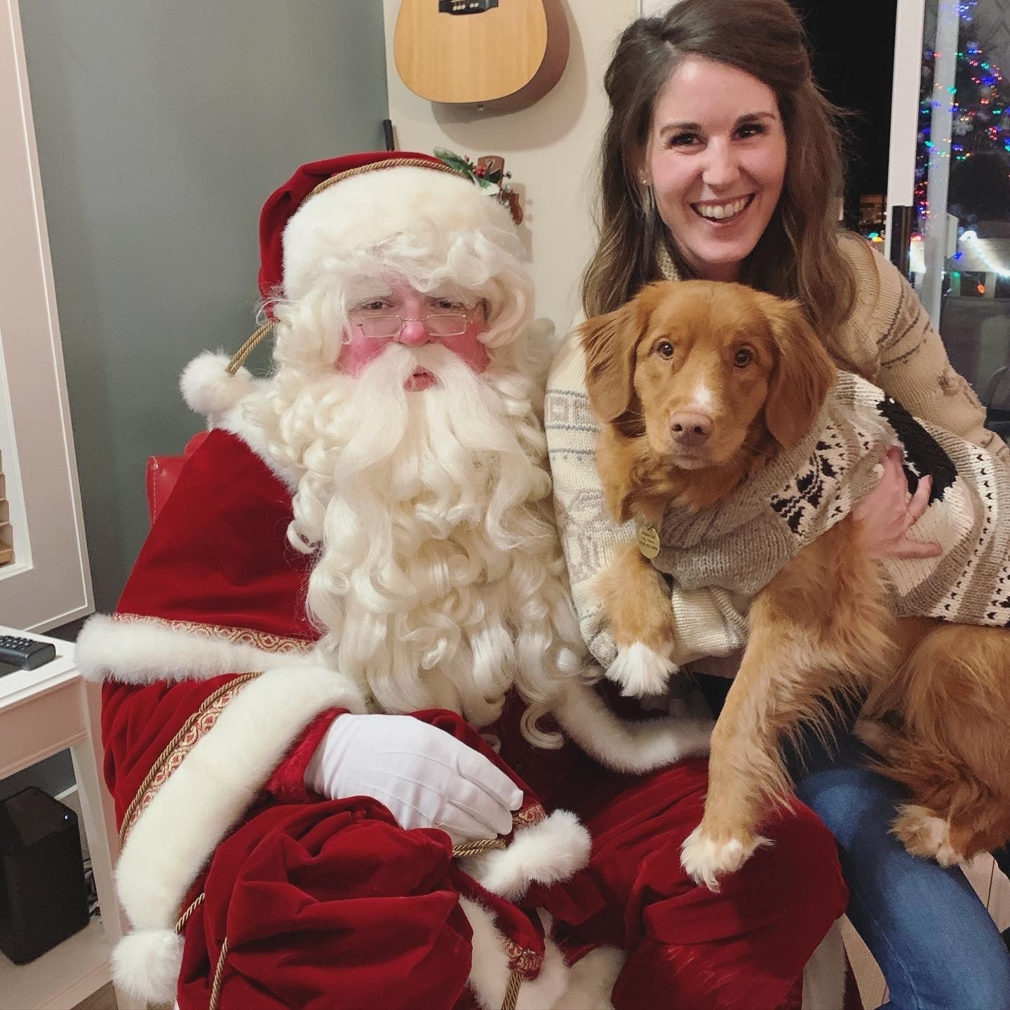 Ginny the dog poses with her mom and Santa as part of the What Sparks Holiday Joy blog post with Rocky Mountain Soap Company.