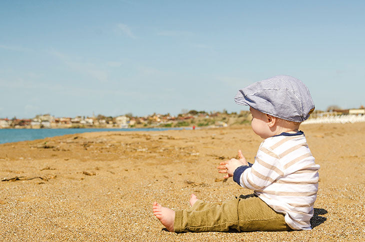 Keep them cool and comfortable - baby on the beach