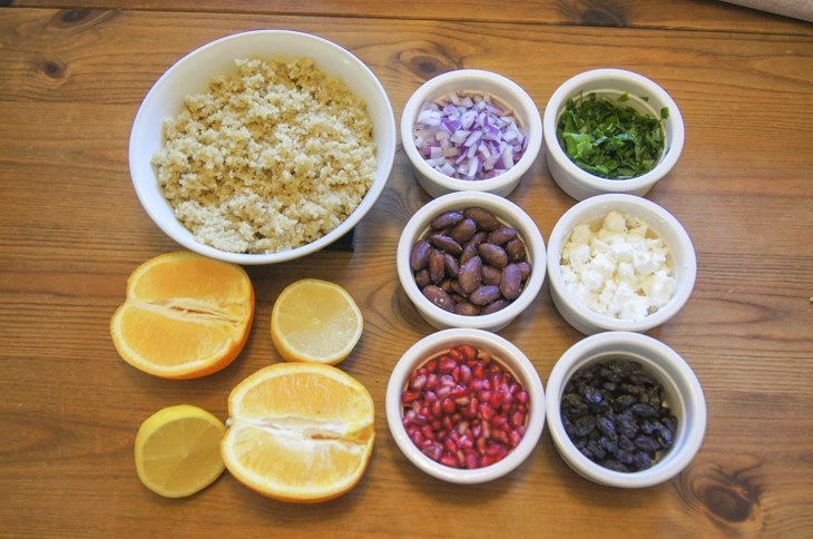 Ingredients for pomegranate quinoa salad in bowls