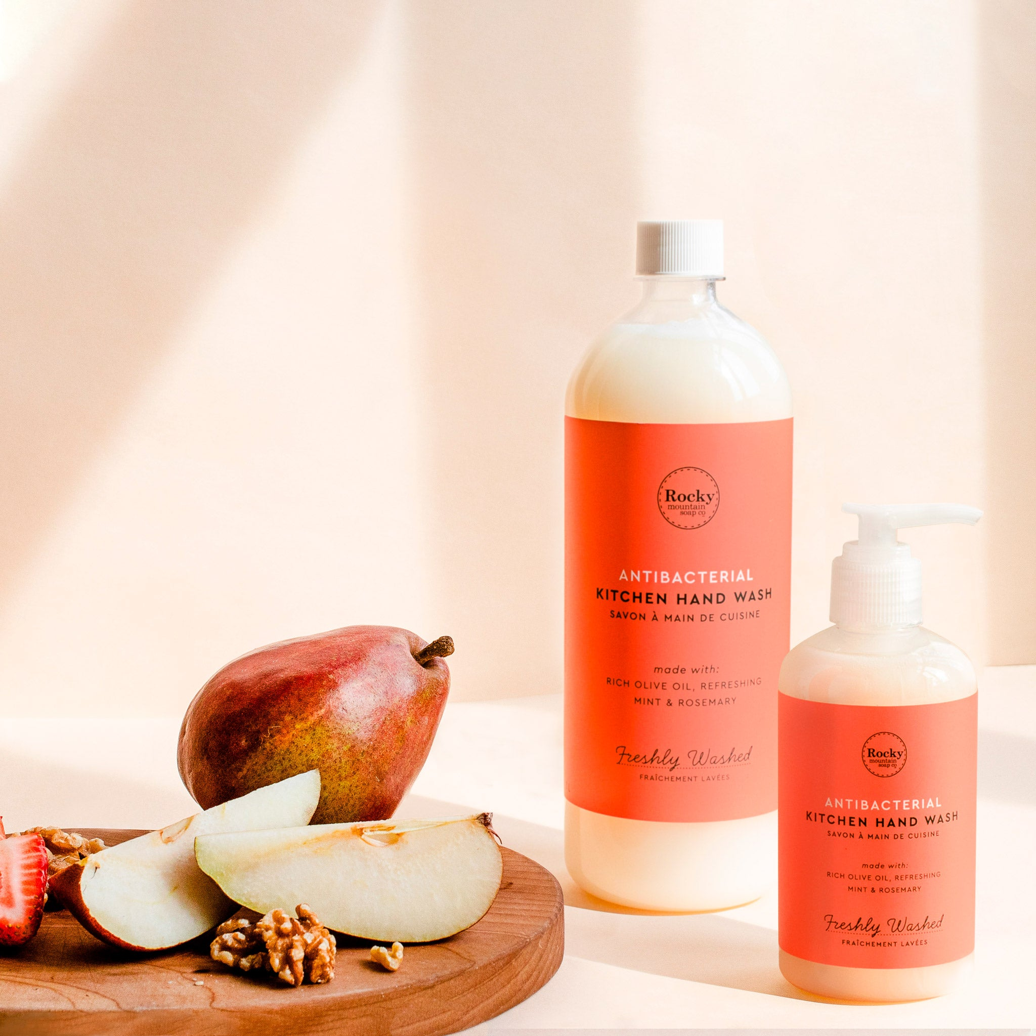 image of all-natural antibacterial kitchen soap on counter.
