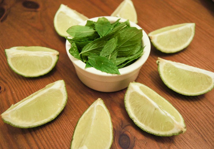 Lime quarters and mint