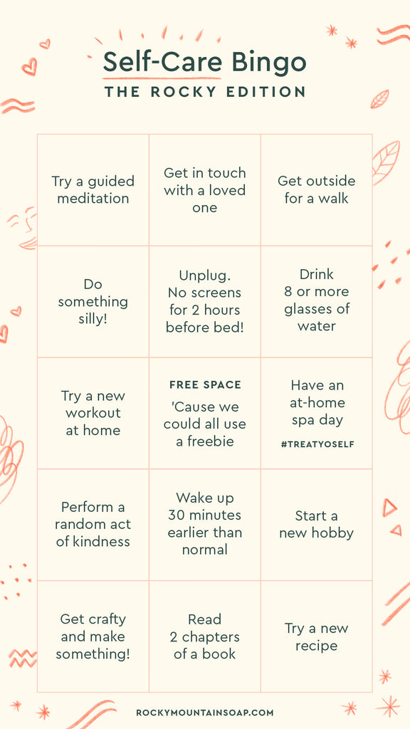 Rocky self care BINGO card.