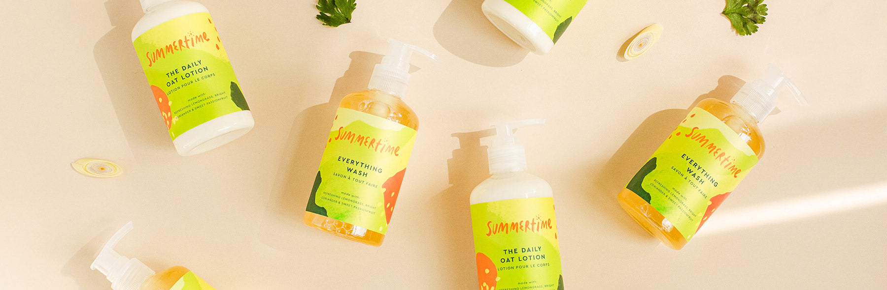 summertime body lotion and wash