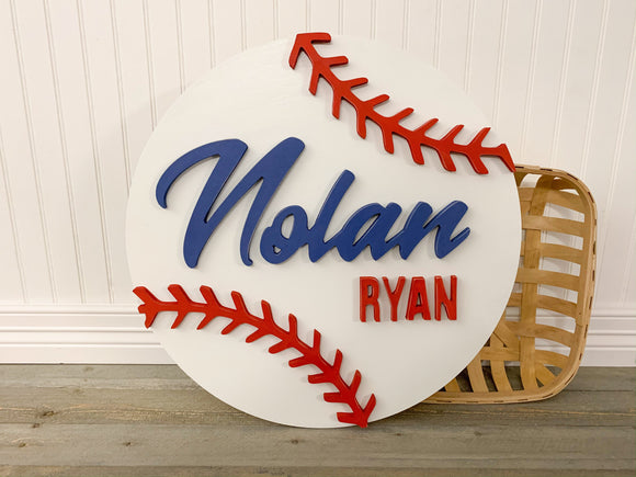 Round Custom Baseball Name Sign