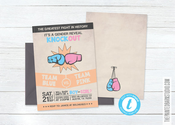 Boxing Gender Reveal Baby Shower Invitation