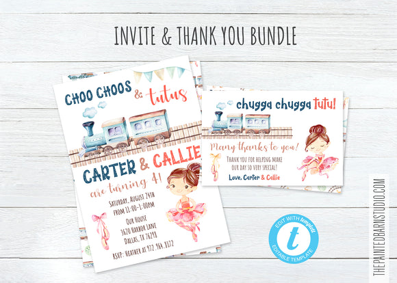 Choo Choos and Tutus Birthday Invitation & Thank You Bundle - Light Brunette
