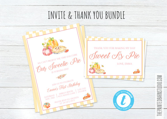 Our Sweetie Pie Birthday Invitation & Thank You Bundle